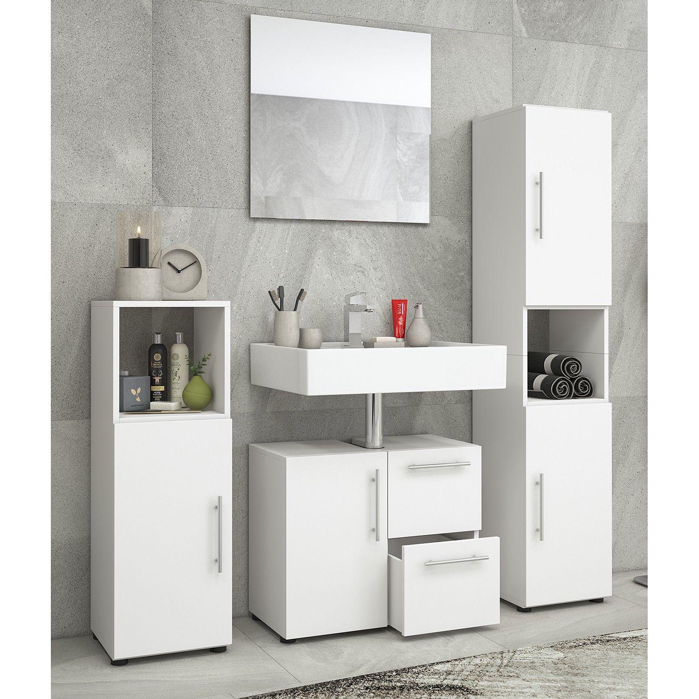 Badezimmerset Flandu Ii 4 Teilig Waschbeckenunterschrank Badezimmer Set Und Badezimmer Hochschrank