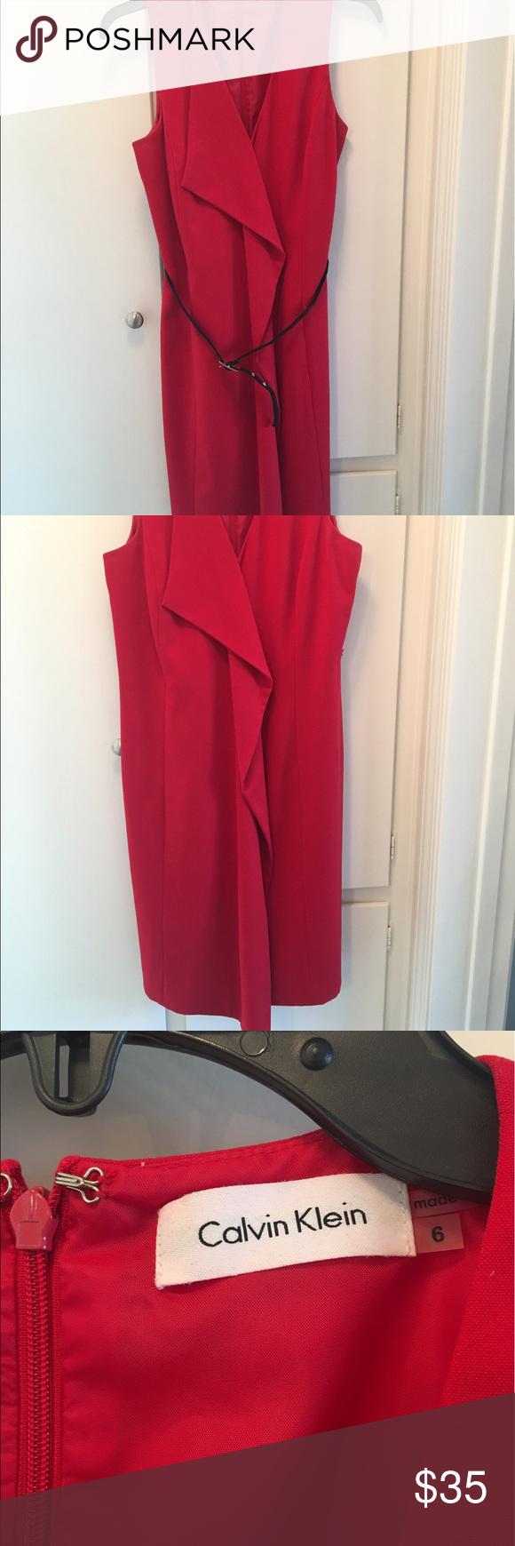Calvin klein red sleeveless dress my posh closet pinterest red