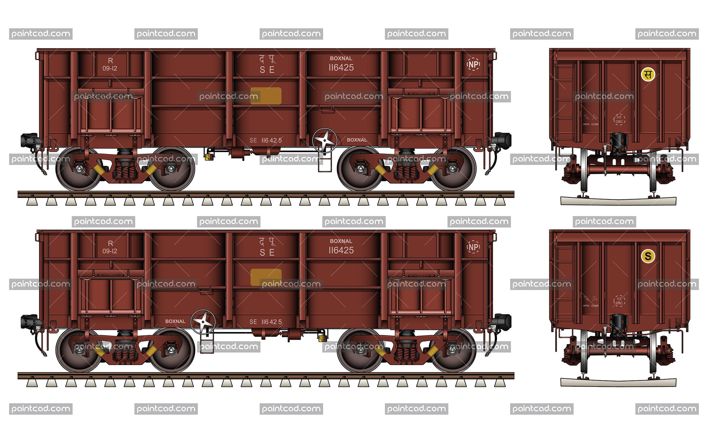 Lowsided railroad gondola coal car by Indian Railways