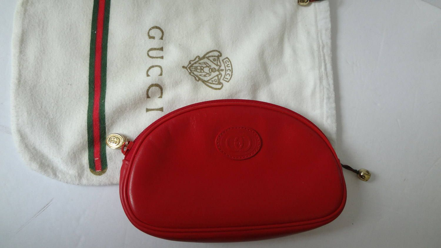 6e1899869 Authentic Vintage GUCCI Cosmetics Makeup Leather Rare Red case Pouch  w/dustbag Pochette bag handbag clutch by DoorstepFashions on Etsy