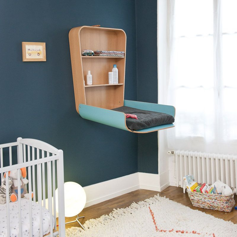 Table langer design bleue charlie crane en vente ici - Table a langer murale autour de bebe ...