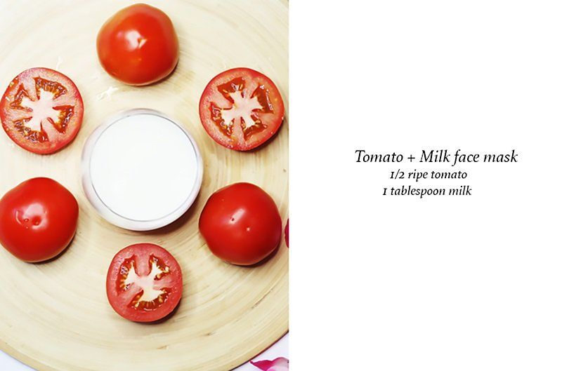 Brighten skin OVERNIGHT milk and tomato juice face mask (baking soda