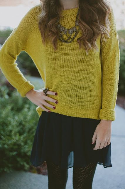 sweaters, dresses and textured tights