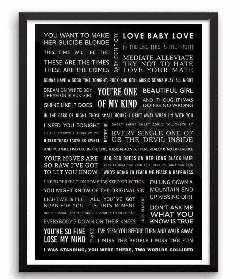 INXS song lyrics poster A3 size Lyric poster, Song lyric