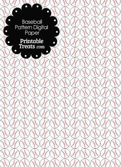 Baseball Pattern Digital Scrapbook Paper From Printabletreats