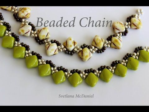 Beaded Chains_Silky Beads_Цепочки из 6x6mm камней - YouTube