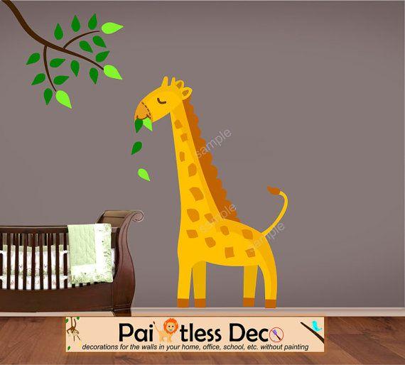 giant giraffe wall decal sticker baby nurserypaintlessdeco