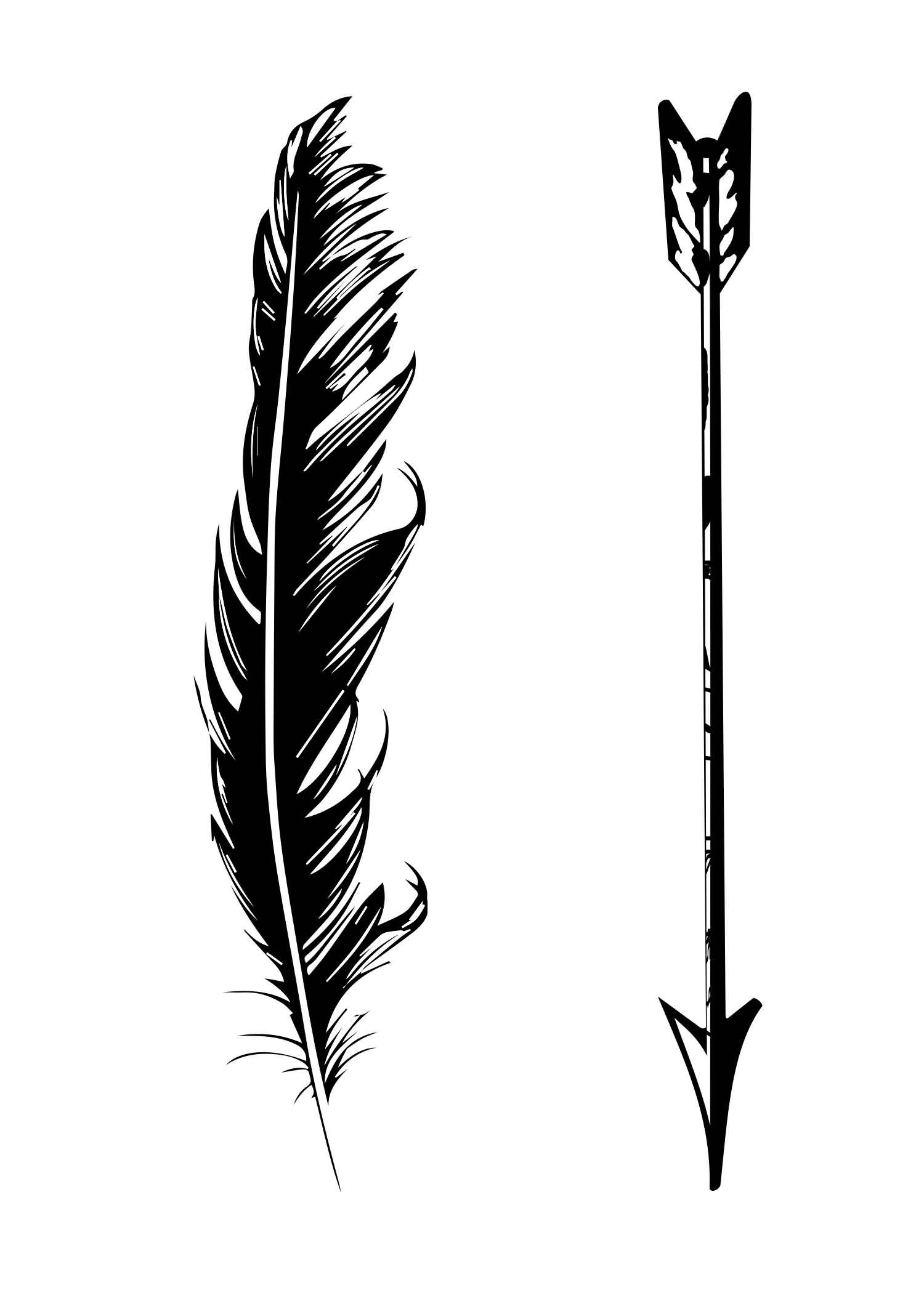 Black And White Arrow With Feather Tattoo Design Arrow Tattoo