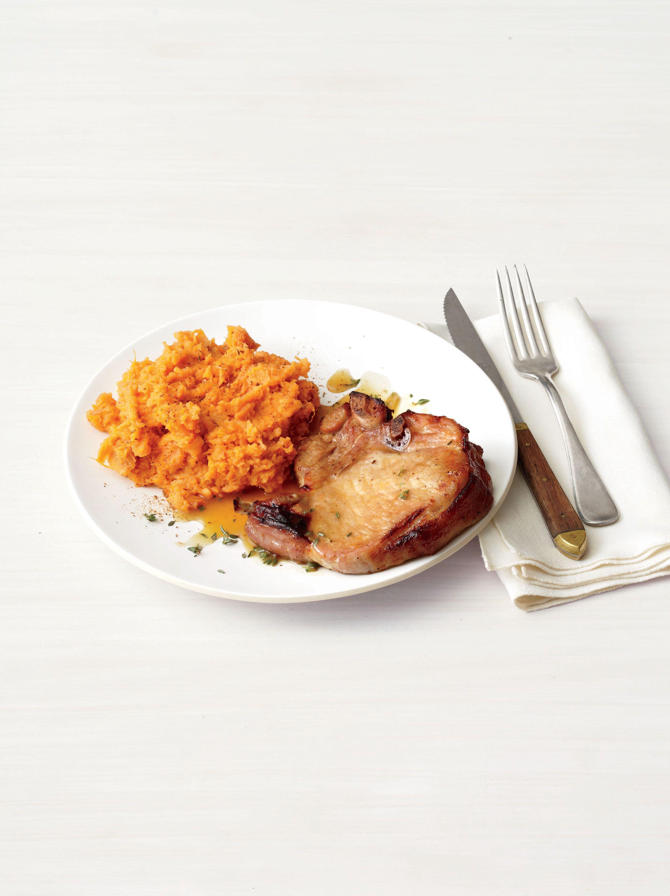 Honey-Glazed Pork Chops With Mashed Sweet Potatoes   Recipe   Glazed ...