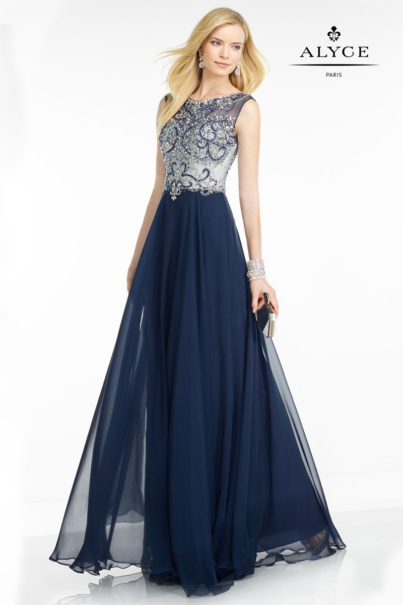 5741 Navy/Silver Romantic sleeveless gown from Black Label by Alyce ...