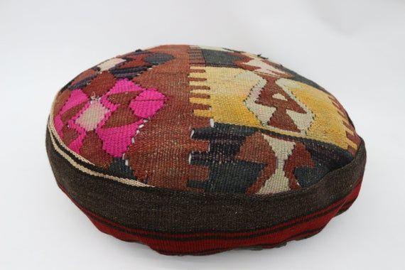 Geometric Kilim Pouf,Camping Puff,24x24x6 Pear Seat, Red Pouf,Circle Pouf,Floor Pillow Cover,Garden