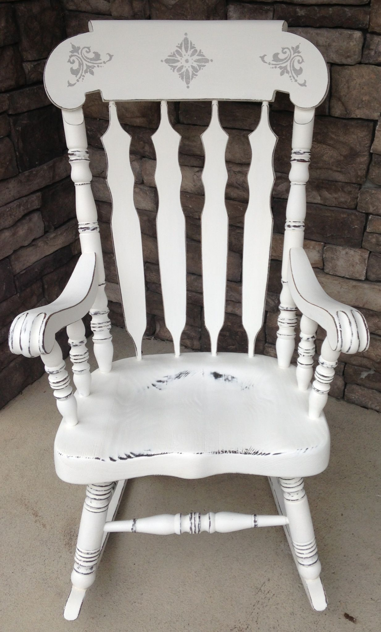 Amazing Refinished Rocking Chair! Done In Ann Sloanu0027s Pure White Chalk  Paint :) Design Done In Paris Grey Chalk Paint Also By Ann Sloan.