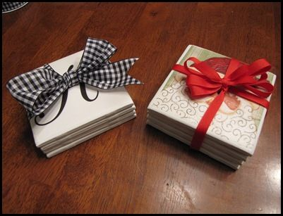 handmade Christmas coasters with tiles and napkins