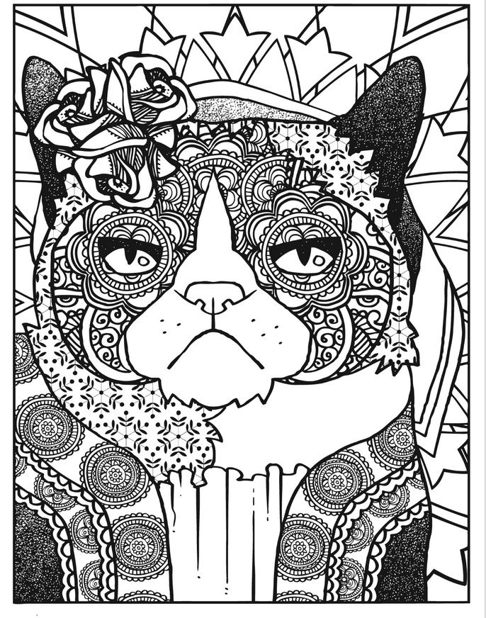 Grumpy Cat Vs The World By Creative Haven Cat Coloring Page