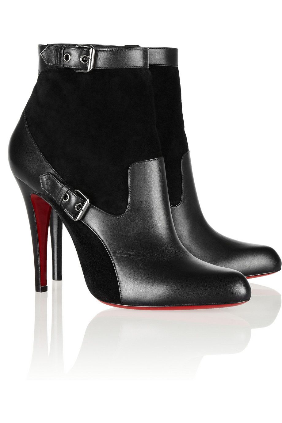 Christian louboutin Canassone 100 Buckled Suede And Leather Ankle Boots in Black | Lyst