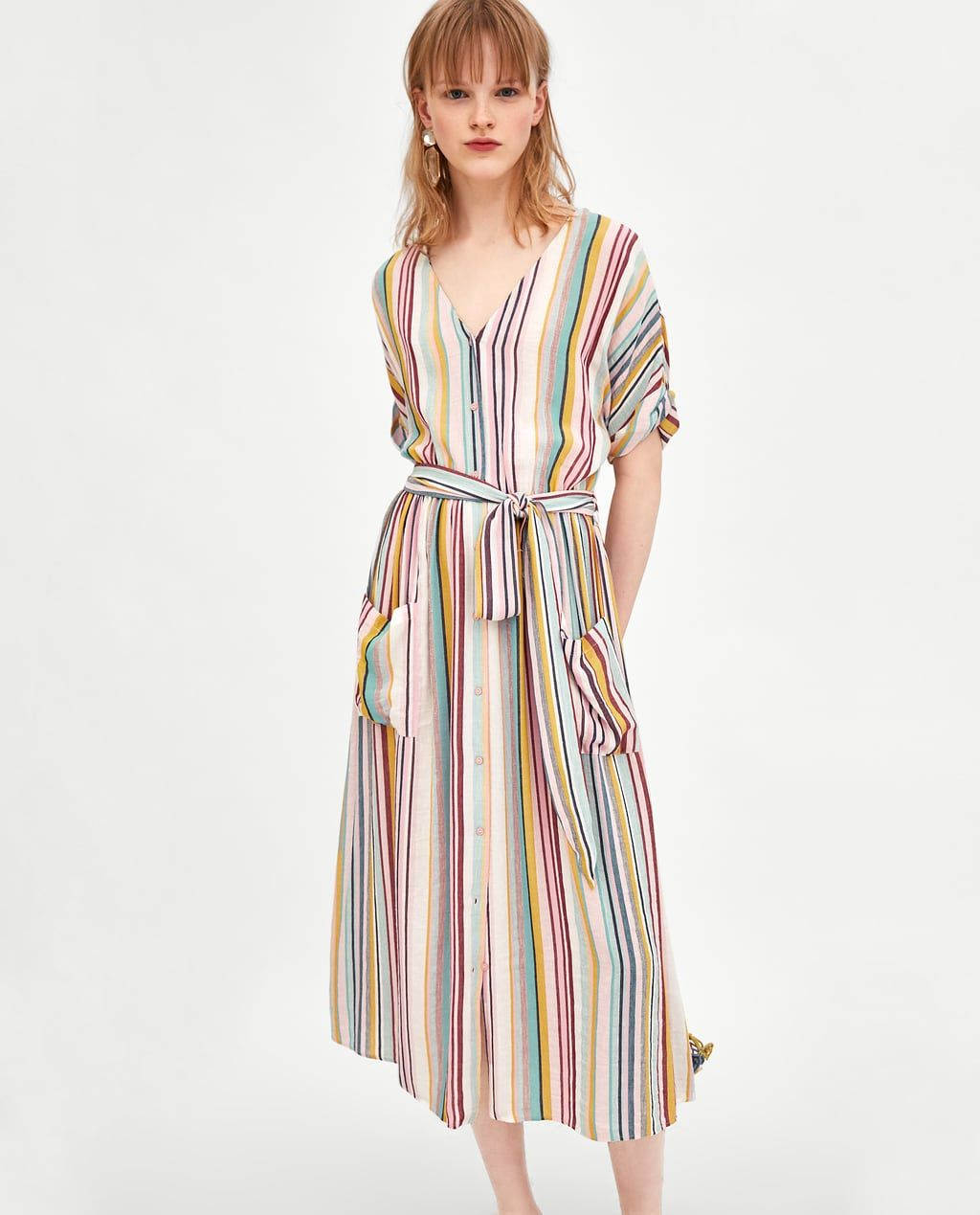 2c959e0dc0903 STRIPED MIDI DRESS from Zara | Striped | Style Inspiration 2019 in ...