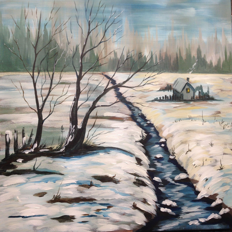 acrylic painting tutorial winter