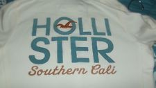 HOLLISTER  WHITE HOODIE  EMBROIDERED 22   SOUTHERN CALI W / SEAGULL  JR MED