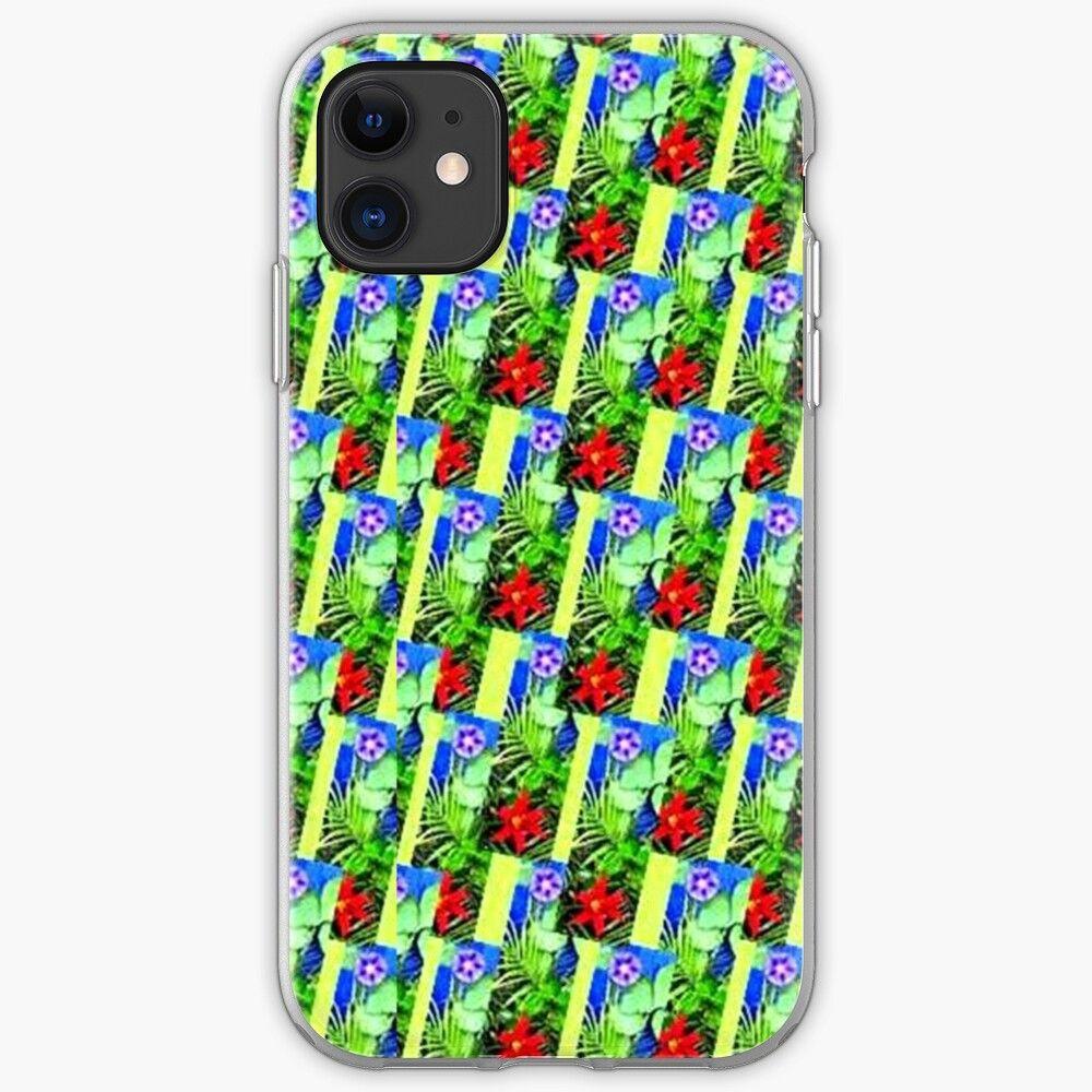 Iphone 11 Souple Explosion 12 Fleurs Feuilles Lis Etoile Ipomee Palmier Phenix Fond Bleu Vert Rouge Nature Par Dragonemma En 2020 Bleu Vert Rouge Et Vert Ipomee