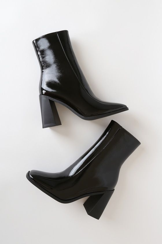 Kiaya Black Crinkle Patent Square Toe Mid Calf Boots in 2020