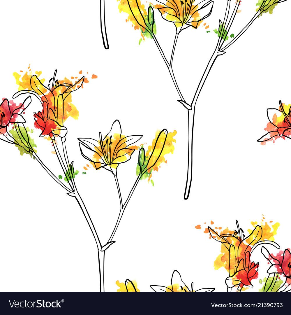 Seamless pattern with lily flower vector image on