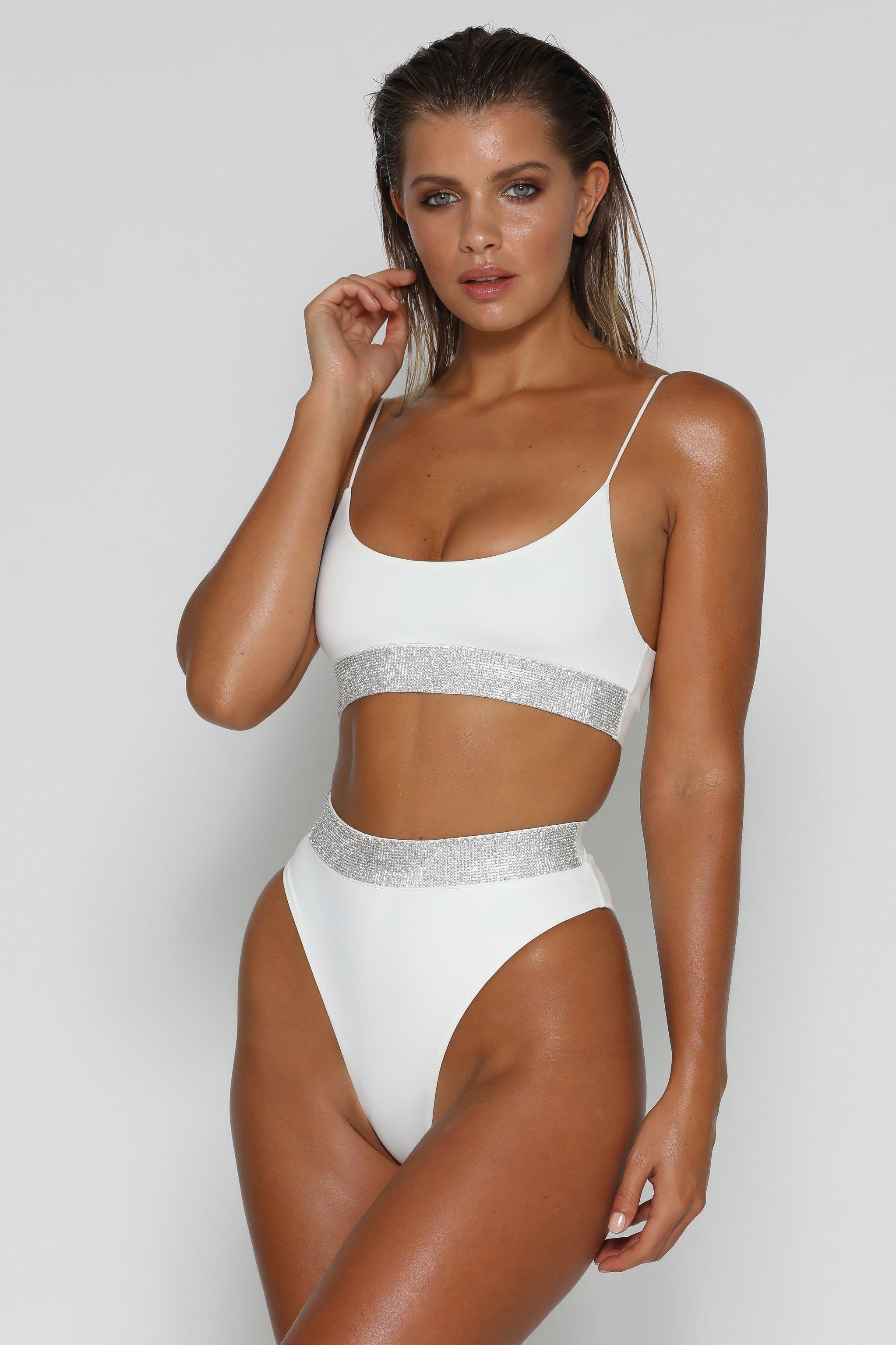 0523ecb1b8 Amrosa Diamante Band Bikini Bottoms - White   Wishlist   Bikinis ...