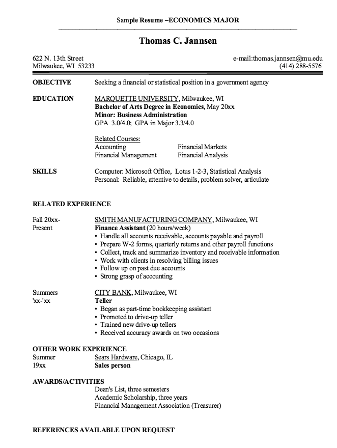 Economics Major Resume Economics Major Resume Samples  Httpresumesdesign .