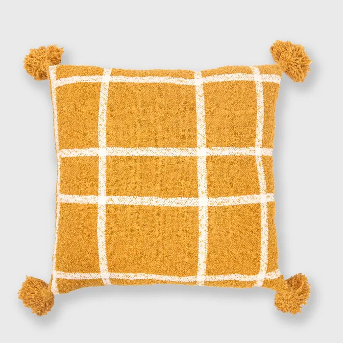 Plaid Boucle Woven Throw Pillow Evergrace in 2020