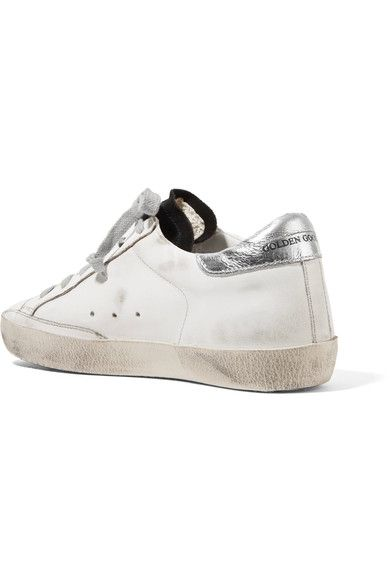 Superstar Distressed Suede And Leather Sneakers Golden Goose wexaOvBdw9