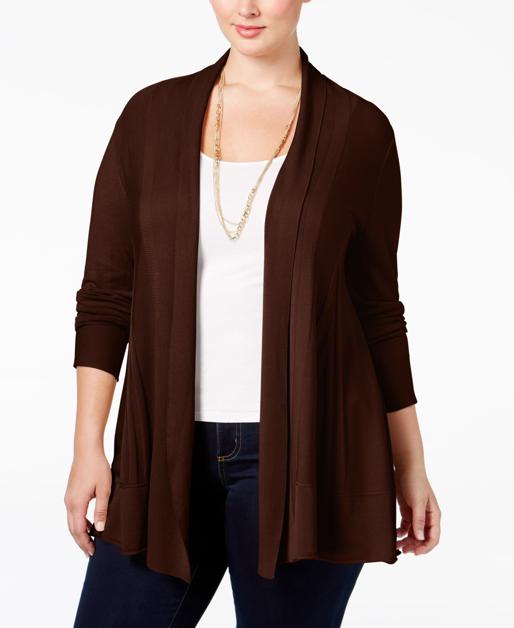 Ny Collection Plus Size Open-Front Textured Cardigan   Products ...