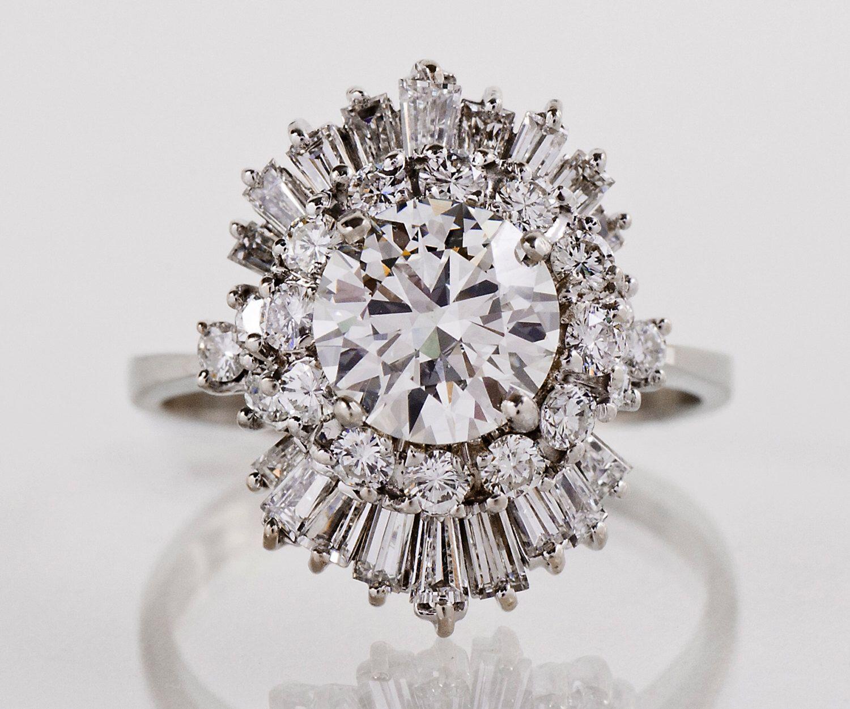 Vintage Engagement Ring Vintage 1960s 18k White Gold 3