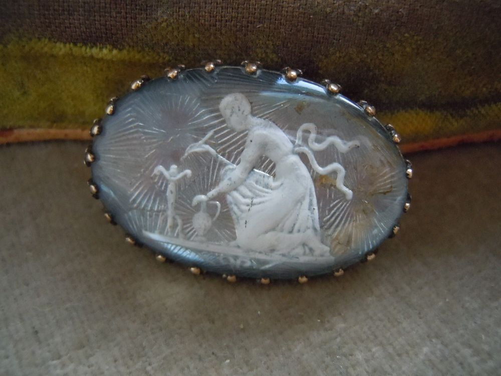 Antique Sulphide Pin, Mourning Scene? Woman, Urn Candlestick? Estate Lot