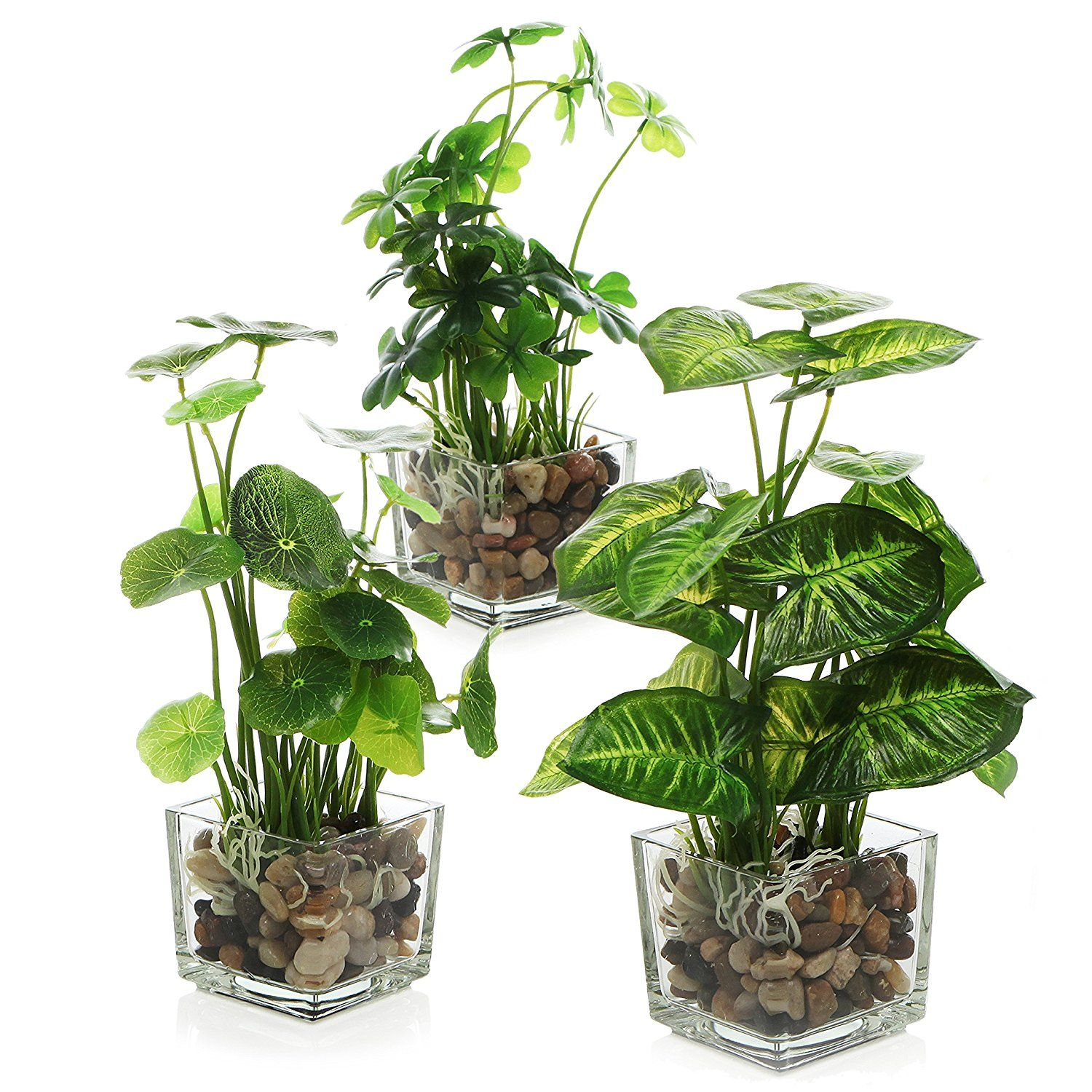 artificial plants for office decor. Amazon.com: MyGift Set Of 3 Artificial Plants, Faux Tabletop Greenery W/ Clear Glass Pots: Home \u0026 Kitchen Plants For Office Decor I