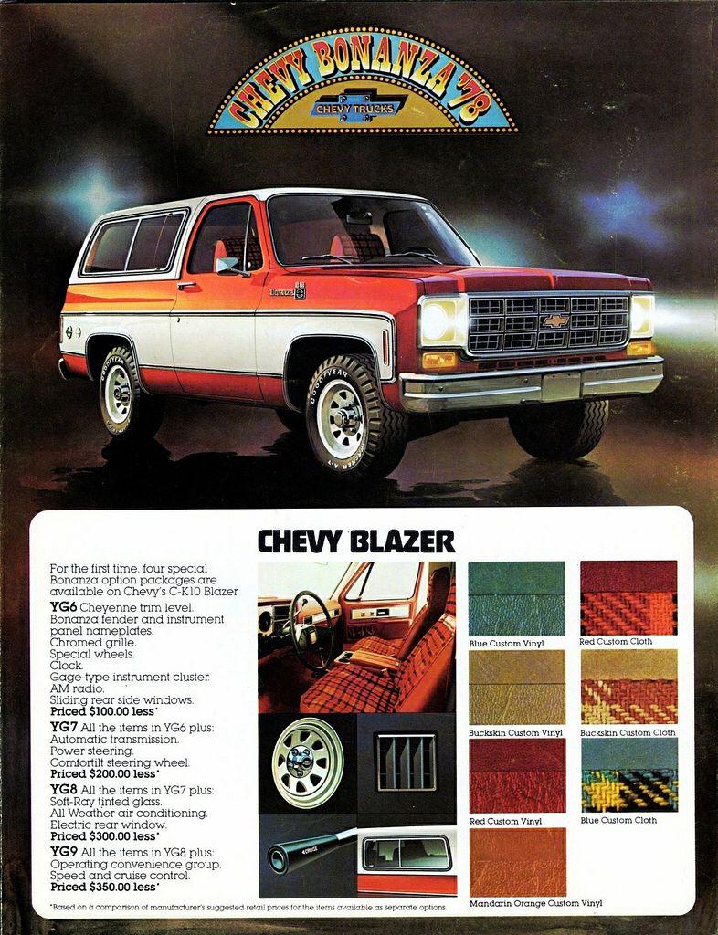 1978 Chevrolet Blazer Bonanza Packages Chevrolet Blazer