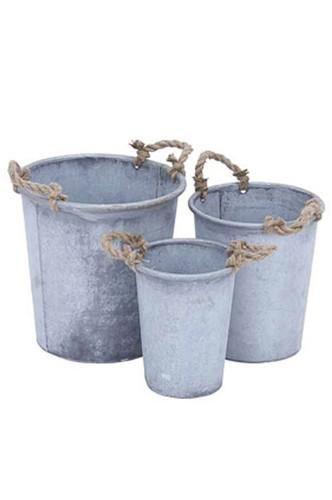 Set Of 3 Grey Metal Planters - LAST CALL - PRU92305