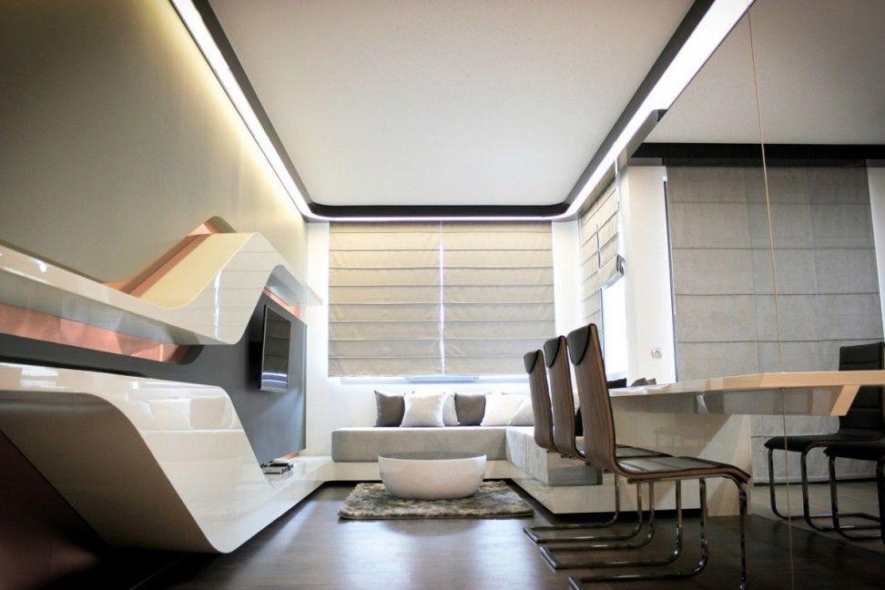 Spectacular Futuristic White Small Apartment Studio Inspiration With Modish Styl Futuristic Interior Interior Design Apartment Small Apartment Interior Design