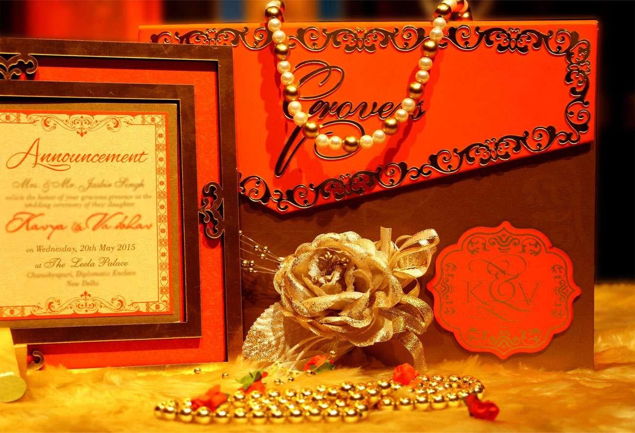 ELEGANT-ORANGE Wedding card designer invitation card by VWI New Del ...