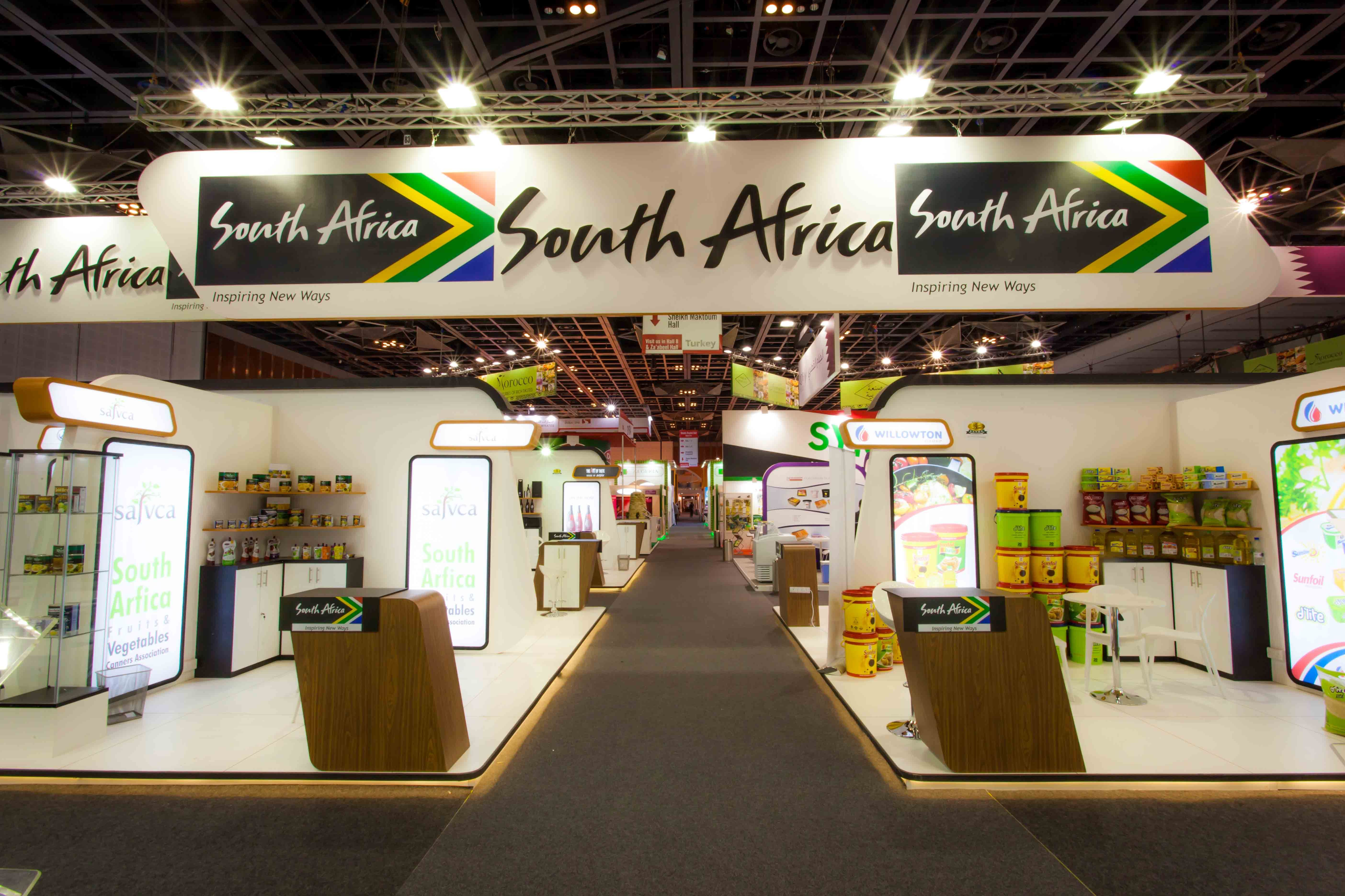 Southafrica Exhibition Stand Gulfood Dubai Uae Middleeast Designed Built By Gleventsmiddle Exhibition Booth Design Exhibition Booth Digital Signage