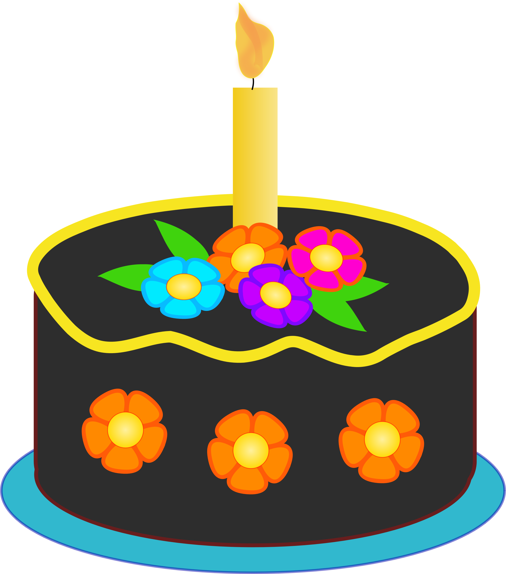 Image for free birthday cake with colorful flowers high resolution