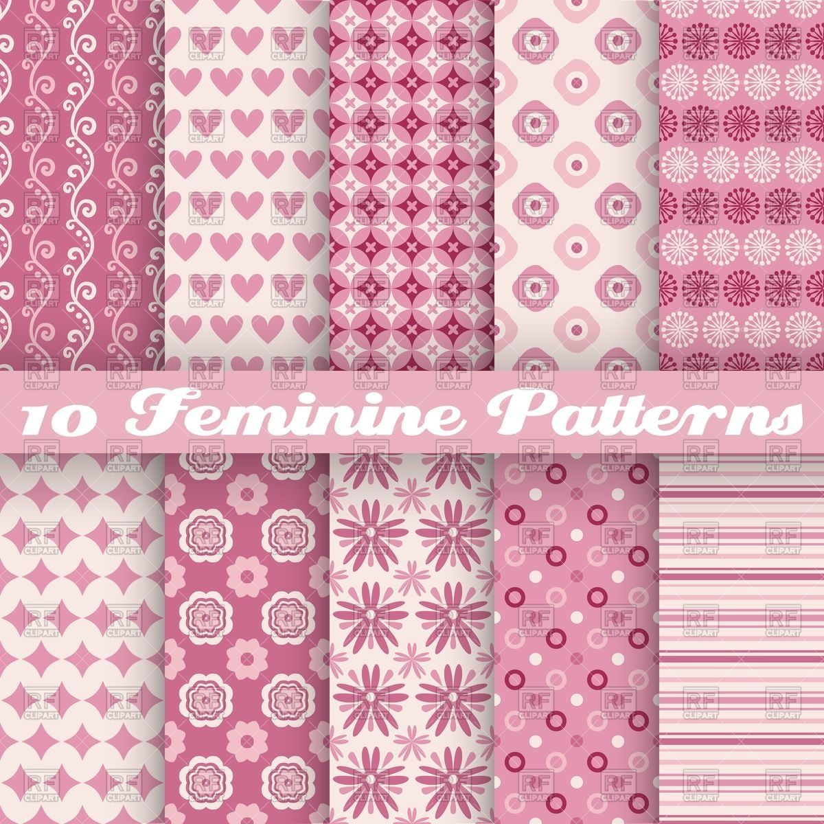 Seamless pink patterns with simple elements heart flower dot and