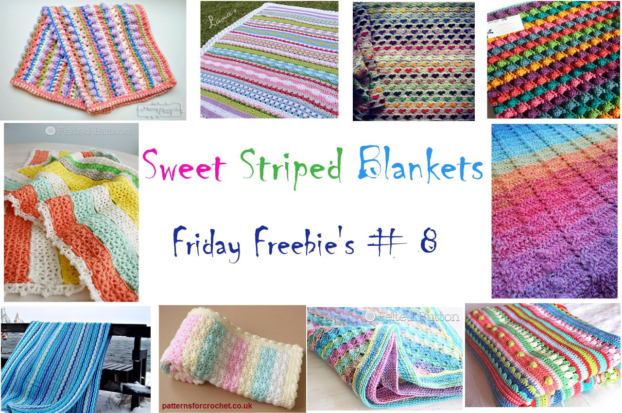 Friday Freebie\'s # 8 - 10 free crochet patterns for striped blankets ...