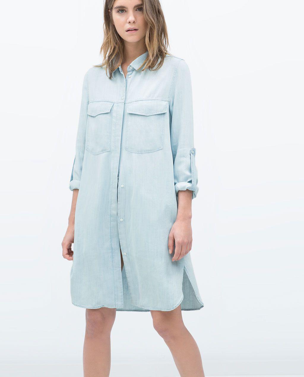 Chemise Jean Longue destiné zara - femme - chemise denim longue | fashion | pinterest | zara