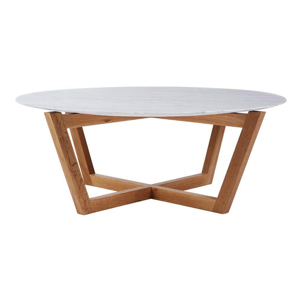 Modern Designer Round Italian Marble Coffee Table Oak