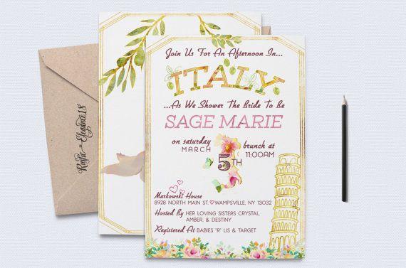 39ba498101e Italy Bridal Shower Invite    Italian Shower Invite    Italy Baby    Italian  Baby    Double-Sided