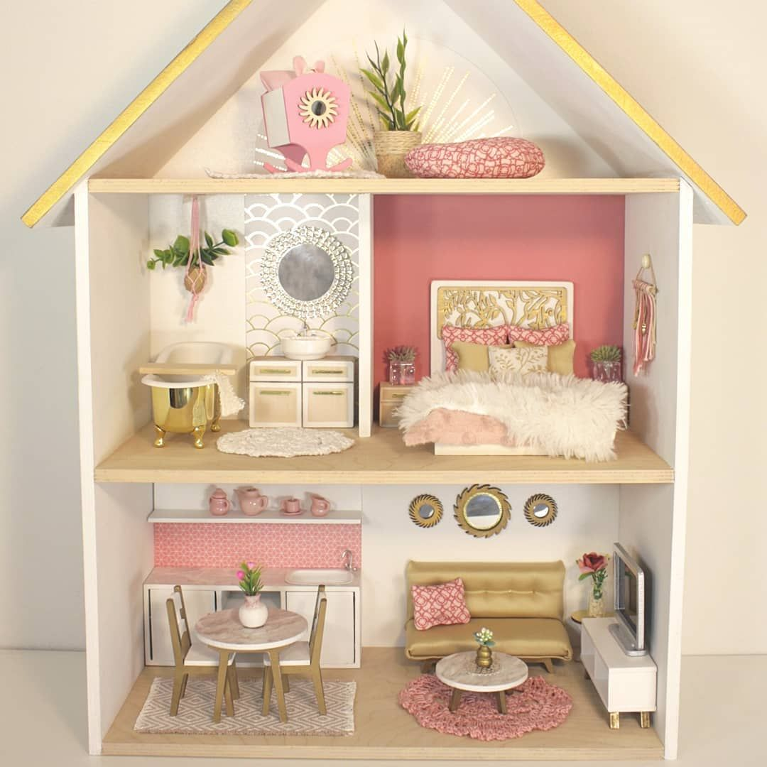 A Charming Wooden Dollhouse Emma Unique Handmade
