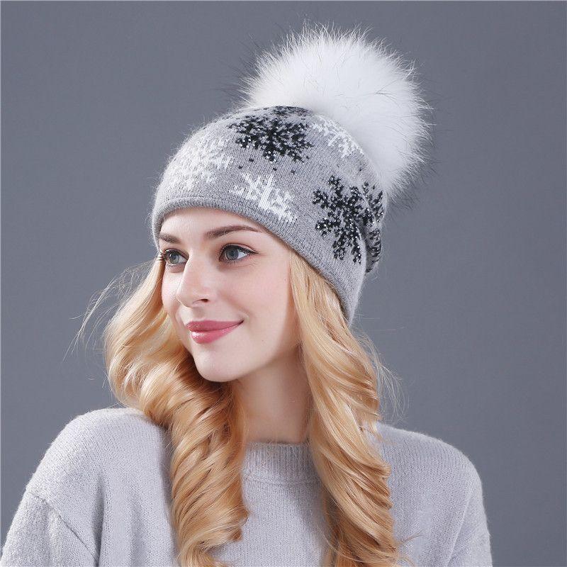XTHREE real mink pom poms wool rabbit fur knitted hat Skullies winter hat  for women girls hat feminino beanies hat 07ec7045cd30