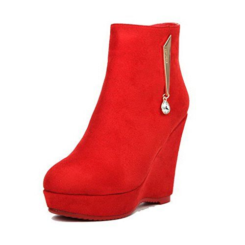 Women's Low-Heels Pointed Closed Toe Pu Low-Top Solid Zipper Boots Red-Zippers 37