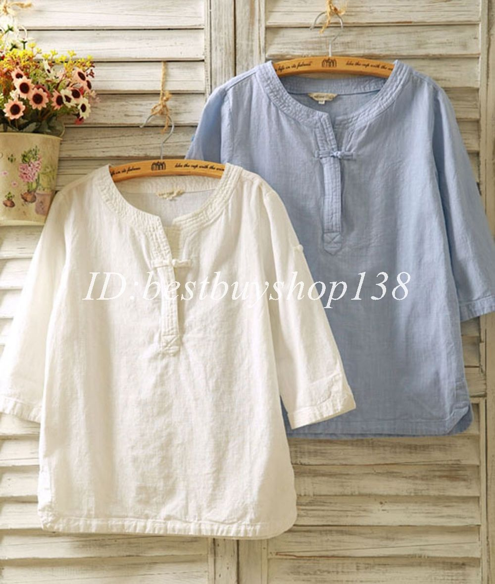 b7100a39081 Women Vintage Flax 3 4 Sleeve V Neck Cotton Linen Loose Tunic Shirt Top  Blouse