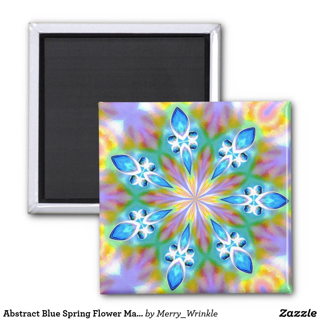 Abstract Blue Spring Flower Mandala Fridge Magnets Pinterest