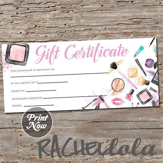 makeup  gift certificate printable template  christmas